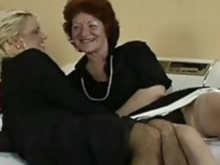 Old lesbians in business suits stockings heels get it