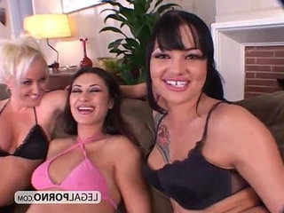 Three hot lesbians playing with huge toys BP