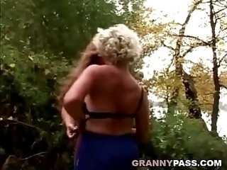 Granny Lesbian girls make Love In The Forest