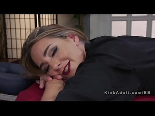 Blonde lesbian anal fisting her masseuse